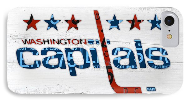 Washington Capitals Retro Hockey Team Logo Recycled District Of Columbia License Plate Art IPhone Case