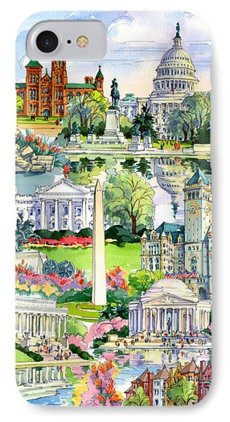 Washington Dc Painting IPhone Case by Maria Rabinky