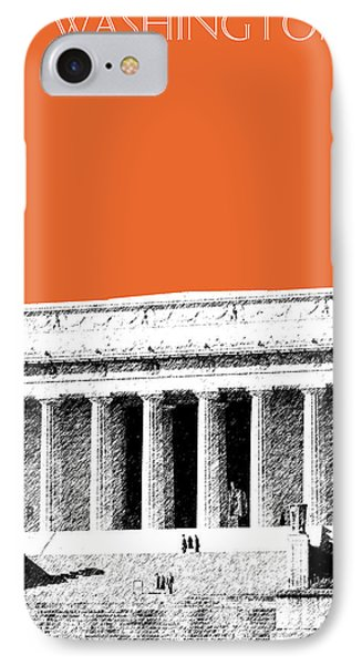 Washington Dc Skyline Lincoln Memorial - Coral IPhone 7 Case by DB Artist