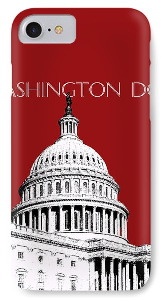 Washington Dc Skyline The Capital Building -  Dk Red IPhone Case by DB Artist