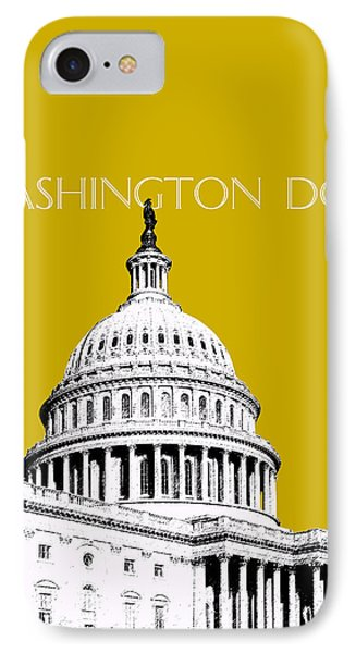 Washington Dc Skyline The Capital Building - Gold IPhone Case by DB Artist