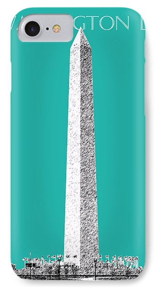 Washington Dc Skyline Washington Monument - Teal IPhone Case by DB Artist