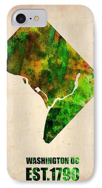 Washington Dc Watercolor Map Phone Case by Naxart Studio