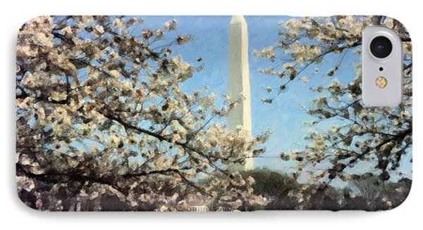 Washington Monument Cherry Blossoms IPhone Case by Spyder Webb