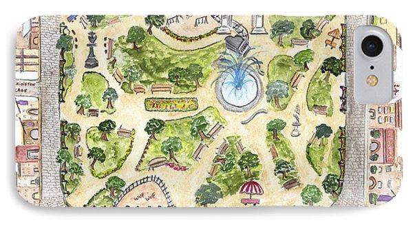 Washington Square Park Map IPhone Case by AFineLyne