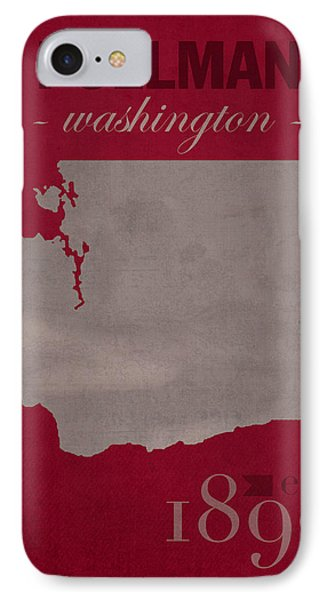Washington State University Cougars Pullman College Town State Map Poster Series No 123 IPhone Case