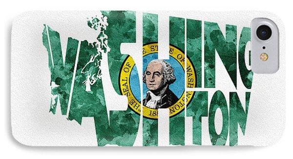 Washington Typographic Map Flag IPhone Case by Ayse Deniz