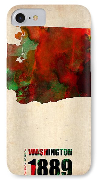 Washington Watercolor Map Phone Case by Naxart Studio