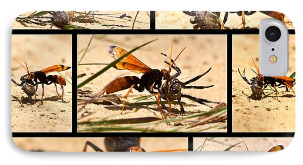 IPhone 7 Case featuring the photograph Wasp And His Kill by Miroslava Jurcik
