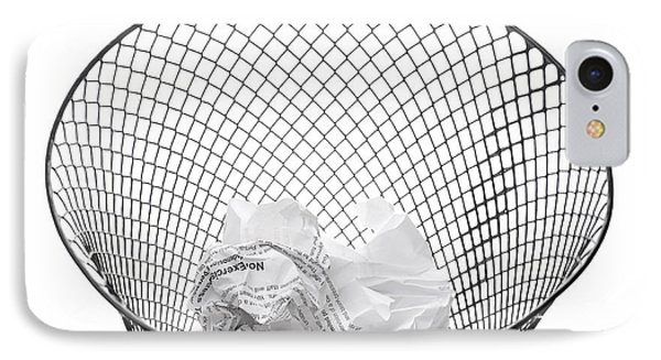 Wastepaper Basket On Side Spilling Contents IPhone Case by Donald  Erickson
