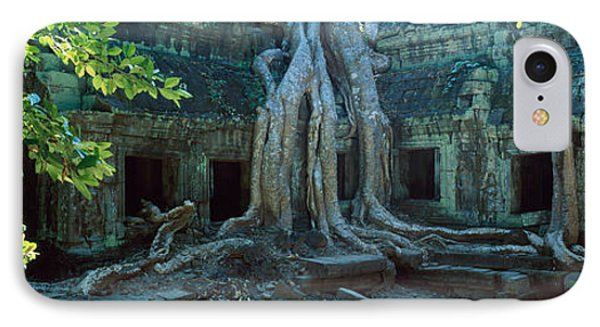 Wat Temple Complex Of Ta-prohm Cambodia IPhone Case by Panoramic Images