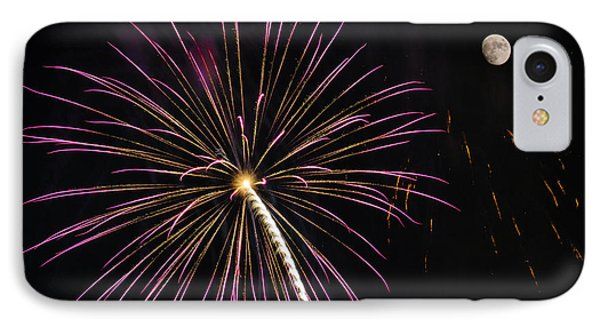 Watching Pink And Gold Explosion - Fireworks And Moon I  IPhone Case by Penny Lisowski