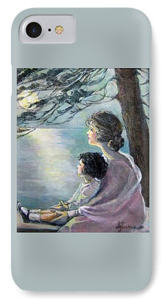 Watching The Moon IPhone Case by Donna Tucker