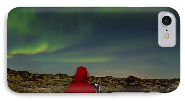 Watching The Northern Lights IPhone Case by Andres Leon