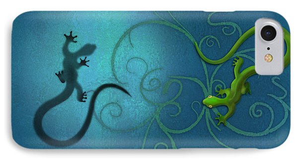 water colour print of twin geckos and swirls Duality IPhone Case by Sassan Filsoof