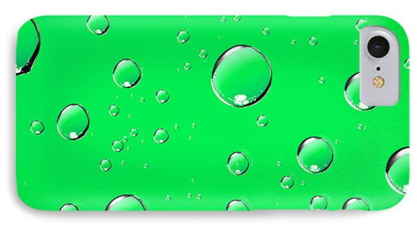 Water Drops On Green Phone Case by Sharon Dominick