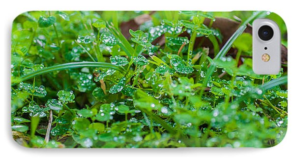 Water Drops On The  Grass 0048 Phone Case by Terrence Downing