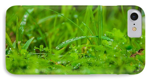 Water Drops On The  Grass 0084 Phone Case by Terrence Downing