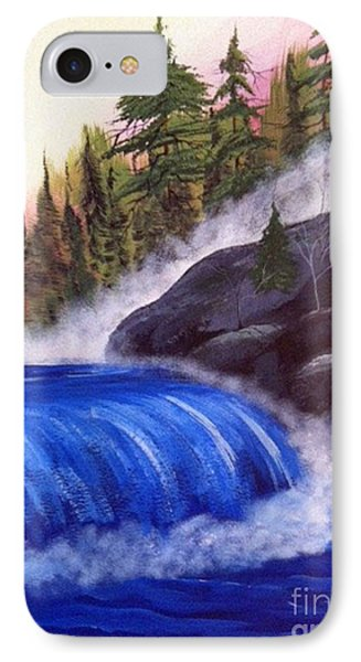 IPhone Case featuring the painting Water Fall By Rocks by Brenda Brown