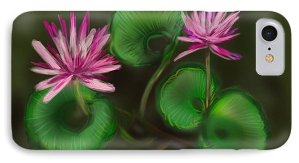 IPhone Case featuring the digital art Water Lilies by Christine Fournier