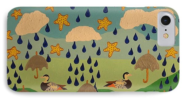 IPhone Case featuring the painting Water Off A Duck's Umbrella by Erika Chamberlin