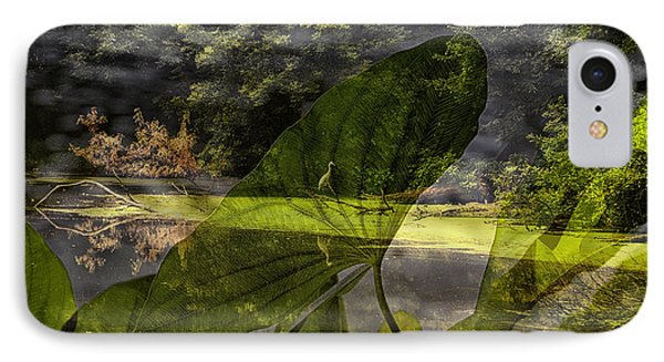 Water Plant With Bird Merged Image IPhone Case by Thomas Woolworth