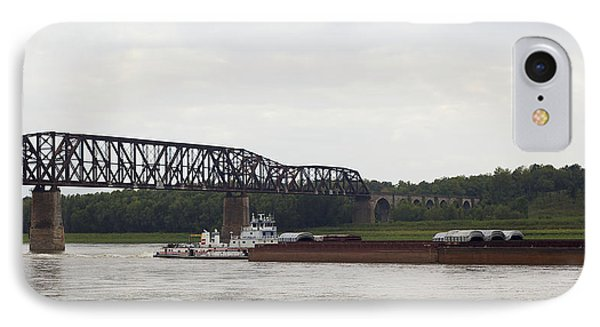 IPhone Case featuring the photograph Water Under The Bridge - Towboat On The Mississippi by Jane Eleanor Nicholas