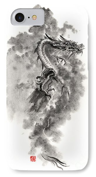 Water Wind Dragon Dragons Sumi-e Ink Painting Chinese Zodiac Five Elements Fantasy World Art IPhone Case