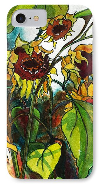 IPhone Case featuring the painting Sunflowers On The Rise by Kathy Braud
