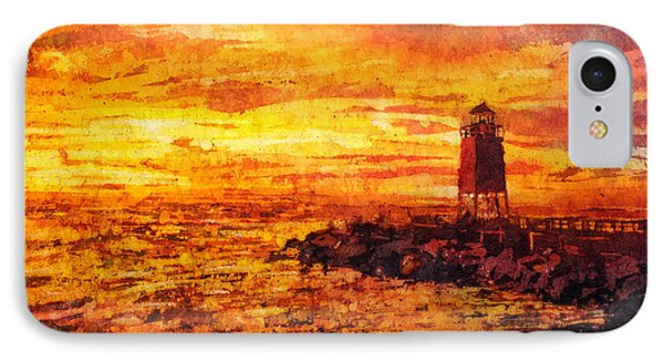 Watercolor Batik Of Charlevoix Lighthouse At Sunset IPhone Case by Ryan Fox