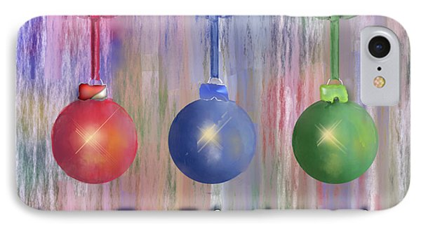 IPhone Case featuring the digital art Watercolor Christmas Bulbs by Arline Wagner