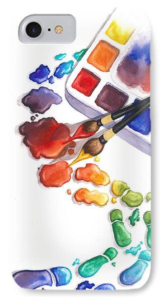 Watercolor Footprints IPhone Case by Conni  Reinecke
