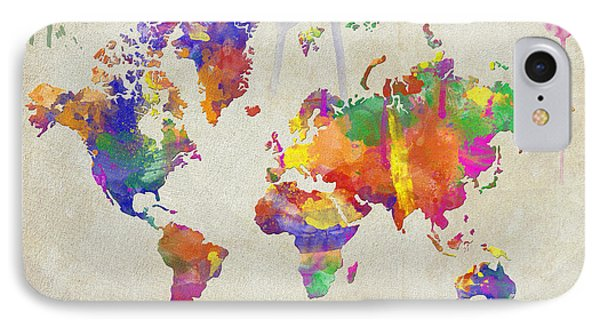 Watercolor Impression World Map IPhone Case