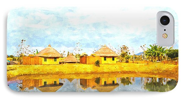 watercolor of bamboo cottages and and thier reflections in pond in Nakorn Ratchasima in Thailand IPhone Case by Ammar Mas-oo-di