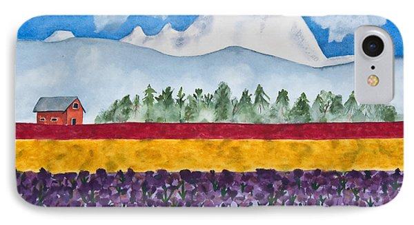 Watercolor Painting Landscape Of Skagit Valley Tulip Fields Art IPhone Case by Valerie Garner