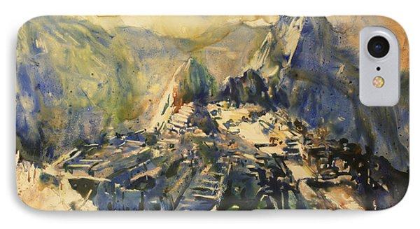 Watercolor Painting Machu Picchu Peru Phone Case by Ryan Fox