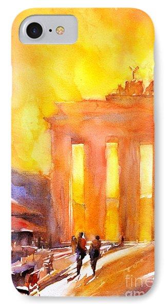 Watercolor Painting Of Brandenburg Gate Berlin Germany Phone Case by Ryan Fox