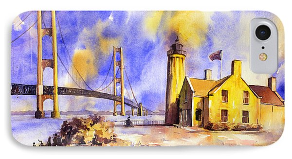 Watercolor Painting Of Ligthouse On Mackinaw Island- Michigan IPhone Case by Ryan Fox