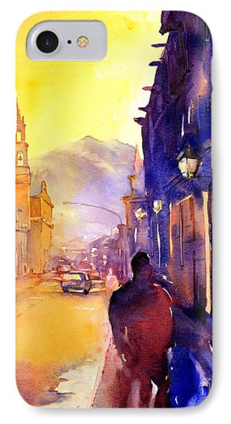 Watercolor Painting Of Street And Church Morelia Mexico Phone Case by Ryan Fox