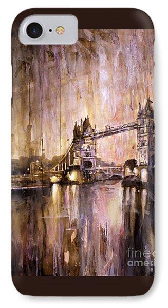 Watercolor Painting Of Tower Bridge London England Phone Case by Ryan Fox