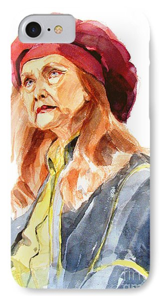 IPhone Case featuring the painting Watercolor Portrait Of An Old Lady by Greta Corens