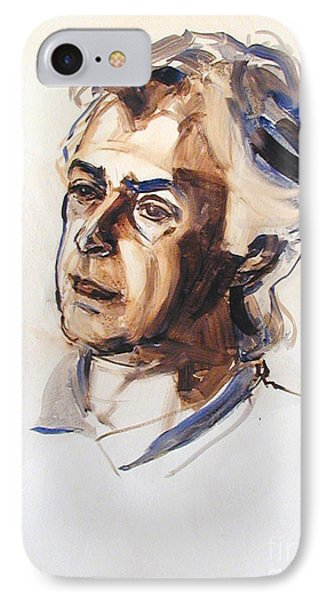 IPhone Case featuring the painting Watercolor Portrait Sketch Of A Man In Monochrome by Greta Corens
