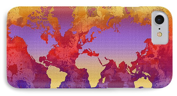 Watercolor Splashes World Map On Canvas Phone Case by Zaira Dzhaubaeva