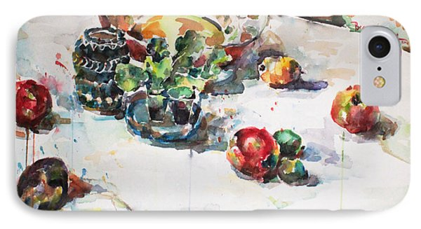 IPhone Case featuring the painting Watercolor Still Life In April by Becky Kim
