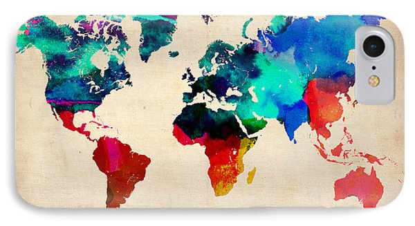 Watercolor World Map 3 IPhone Case