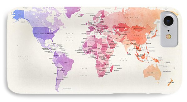 Watercolour Political Map Of The World IPhone Case