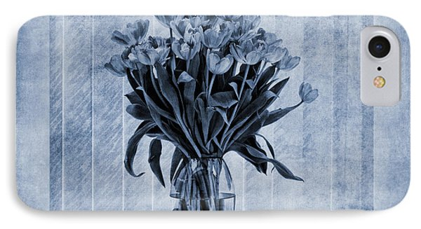 Watercolour Tulips In Blue Phone Case by John Edwards