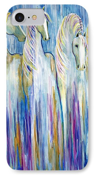 IPhone Case featuring the painting Waterfall Abstract Horses by Jennifer Godshalk