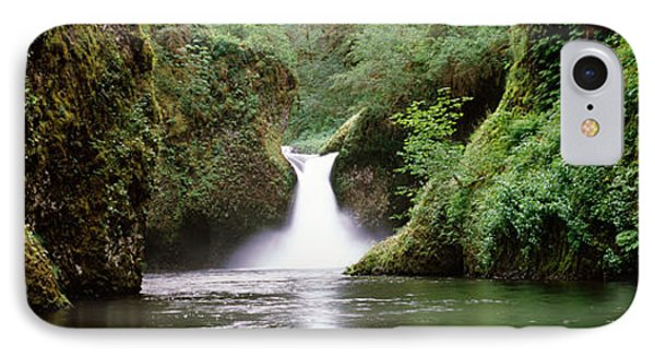 Waterfall In A Forest, Punch Bowl IPhone Case by Panoramic Images
