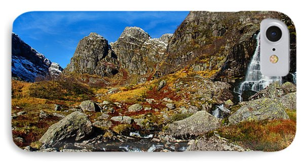 Waterfall In Autumn Mountains Phone Case by Gry Thunes